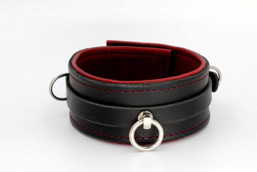 Halsband mit Ring der O schwarz/rot