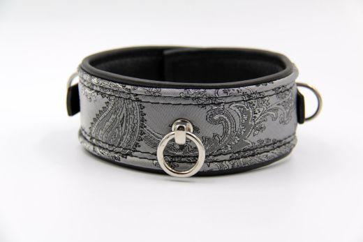 Halsband Paisley silber/schwarz